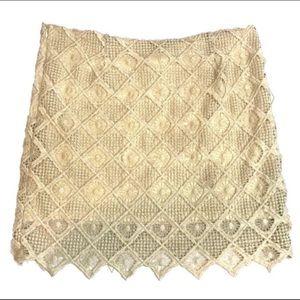 BB Dakota Vintage Off-White Lace Mini Skirt Size 8
